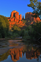 Cathedral Rock, Red Rock Crossing, Crescent Moon Park, Oak Creek,  Sedona AZ, Southwest, Red Rock,reflection, Photograph by Victor Cariri